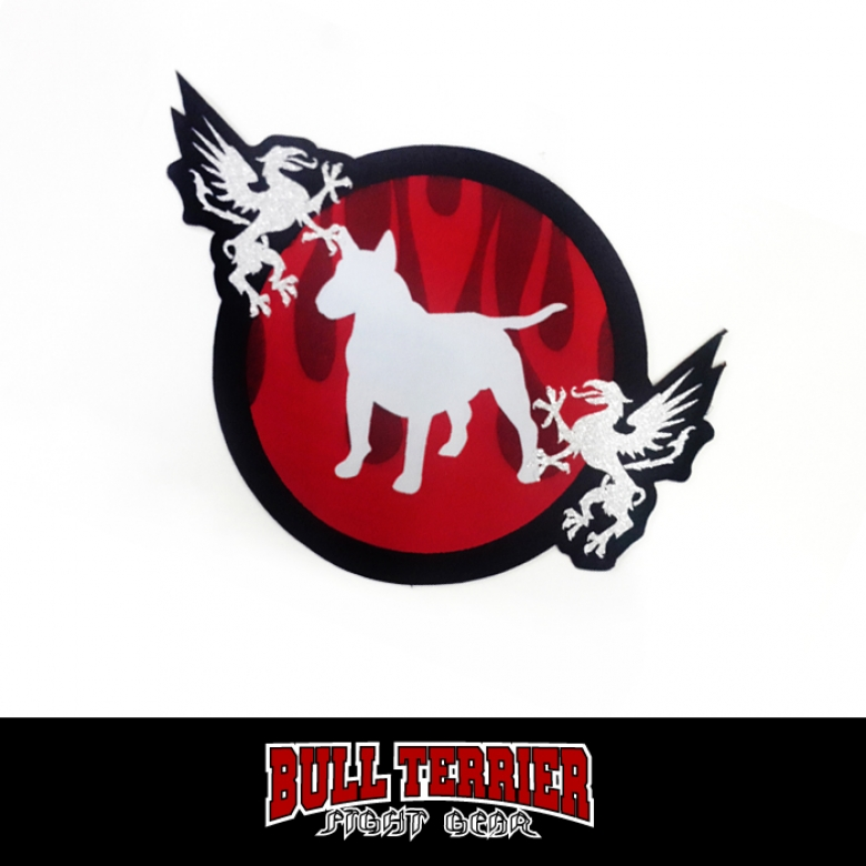 BULLTERRIER Jiu Jitsu Patch Diecut Fire_red