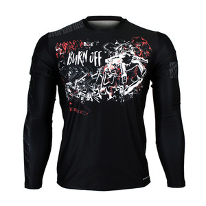 BURN OFF -Black [FR-158K] Full graphic Loose-fit Long sleeve Crew neck shirt