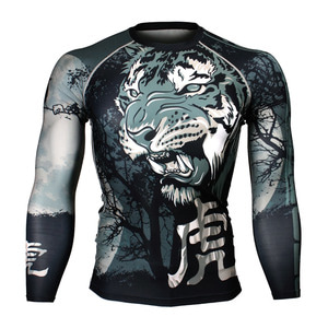 NIGHT TIGER [FX-166] Full graphic Compression Long sleeve Rash guard