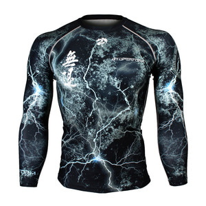 NO RETREAT -Thunder black [FX-103K] Full graphic compression long sleeve shirt